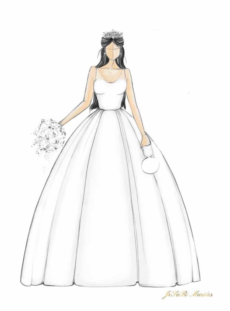 Sketch of a ball gown wedding dress shape on the JoSaBi Mariées blog