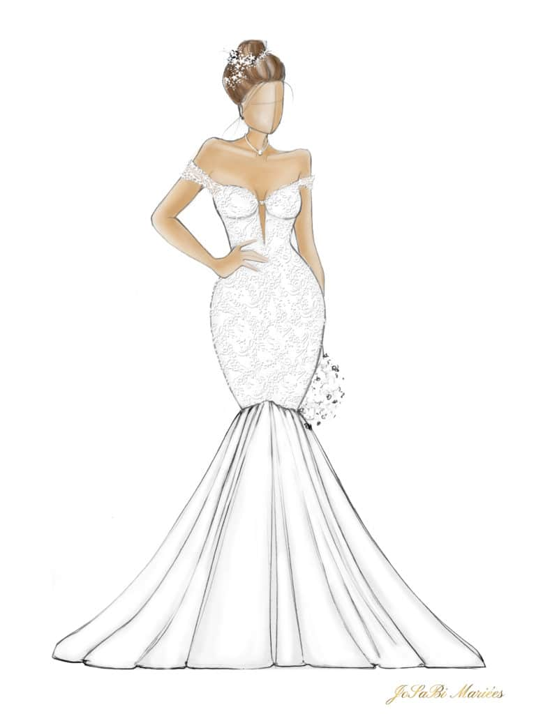 Sketch of a mermaid wedding dress shape on the JoSaBi Mariées blog