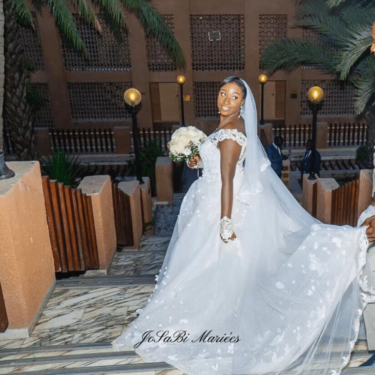 JoSaBi Christine in her detachable ball gown wedding dress