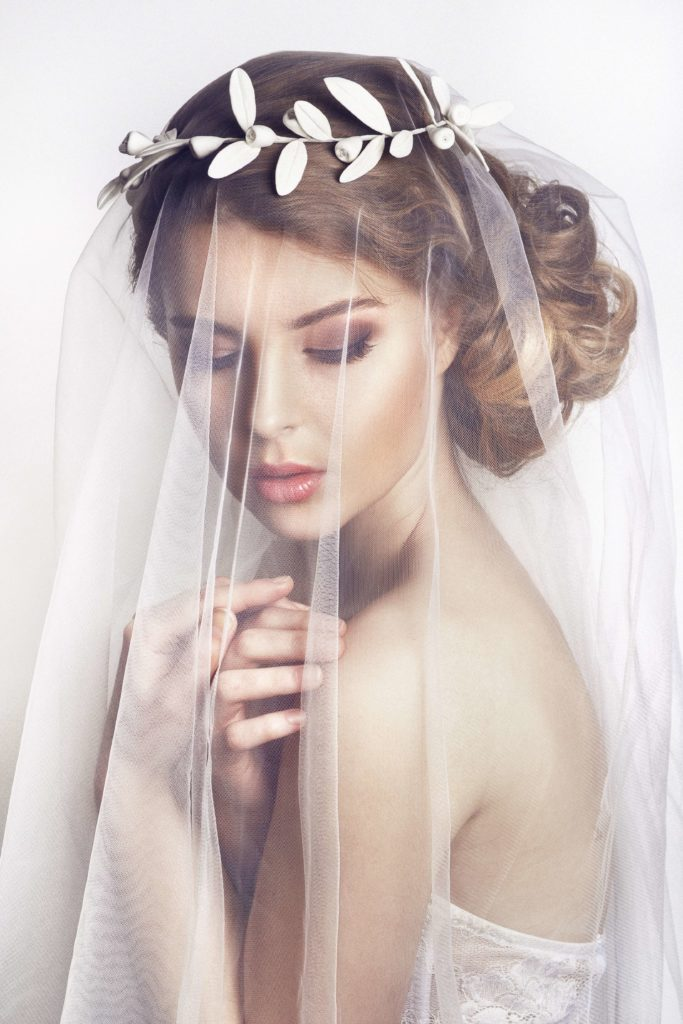 Bride with drop veil cathedral wedding veil length