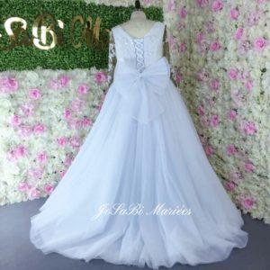 Beaded long sleeve lace wedding dress